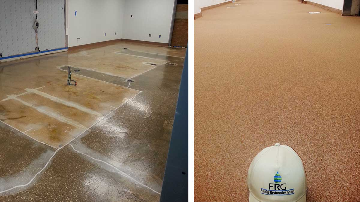 Quartz And Cove Base Floor Systems Water Damage